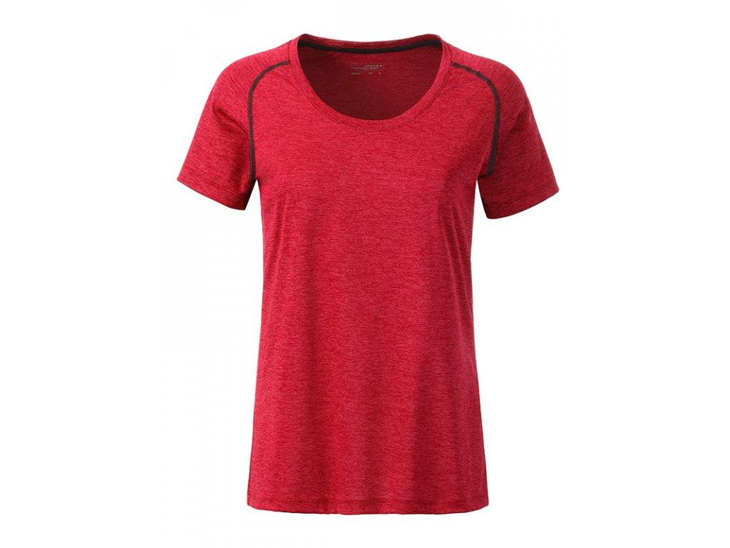 Dámské funkční tričko pro sport a běh JN 495 redmelange