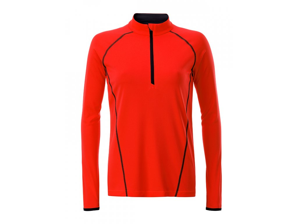 Dámské funkční triko pro sport i fitness s dlouhým rukávem briliantní oranžová