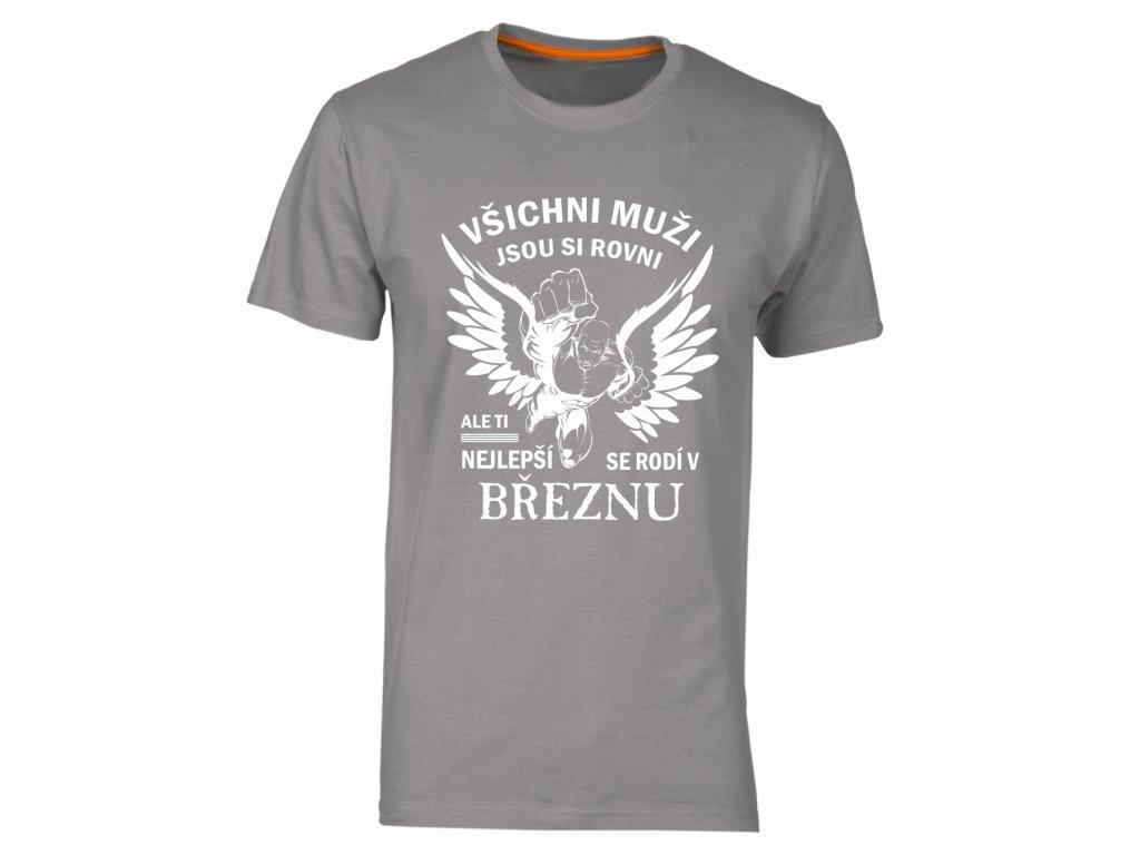 204d9d3c0c1 tričko s potiskem nejlepší muži narozeni v březnu šedá