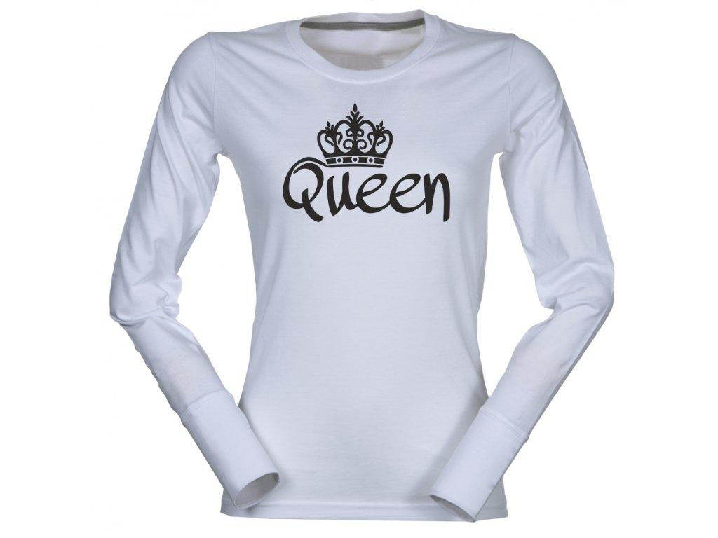 Dámské triko s dlouhým rukávem s potiskem QUEEN bílá ea791a1988