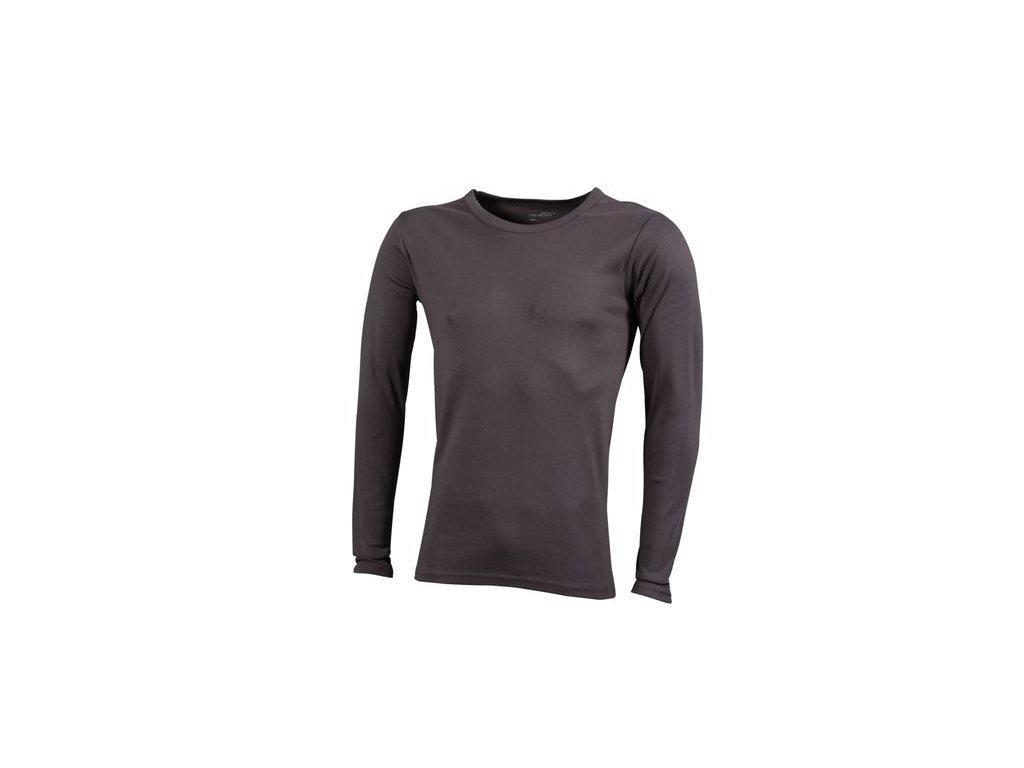 Pánské triko z měkké elastické bavlny s dlouhými rukávy šedá uhlová