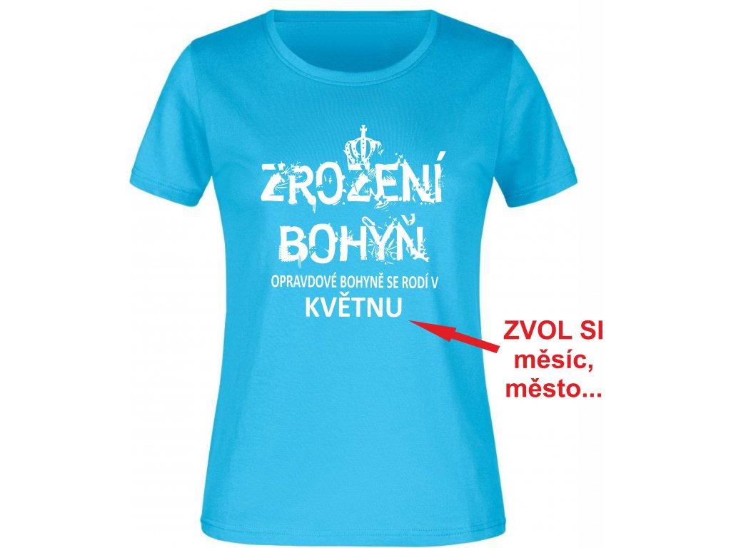 Dámské tričko k narozeninám s potiskem Zrození bohyň, opravdové bohyně se rodí v březnu graphit
