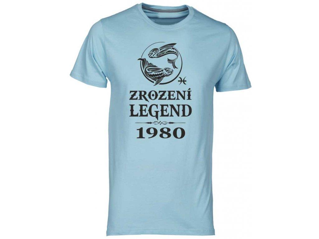 Pánské tričko k narozeninám Zrození Legend se znamením zvěrokruhu ryb světle modrá