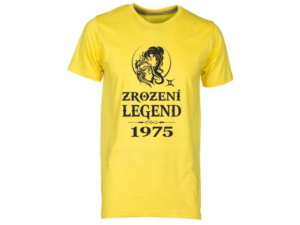 Pánské tričko s potiskem ZROZENÍ LEGEND se znamením zvěrokruhu Blíženci žlutá