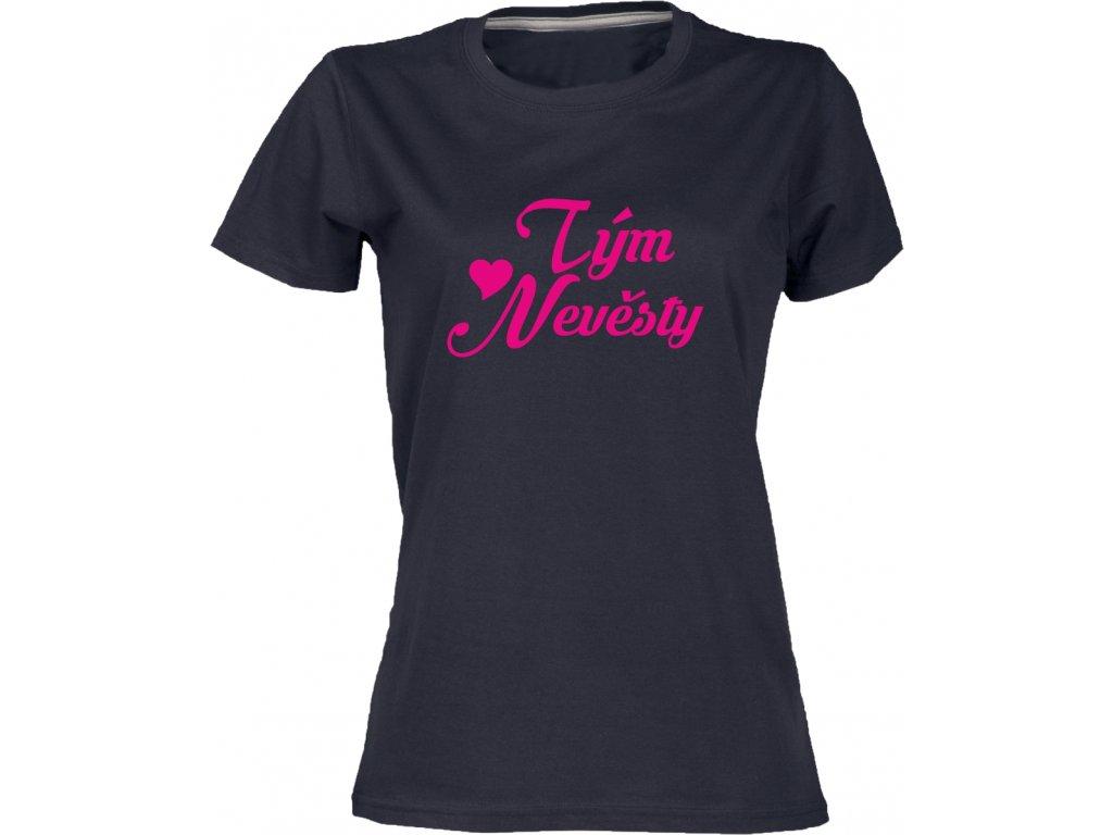 Dámské tričko TÝM NEVĚSTY pro rozlučku černá