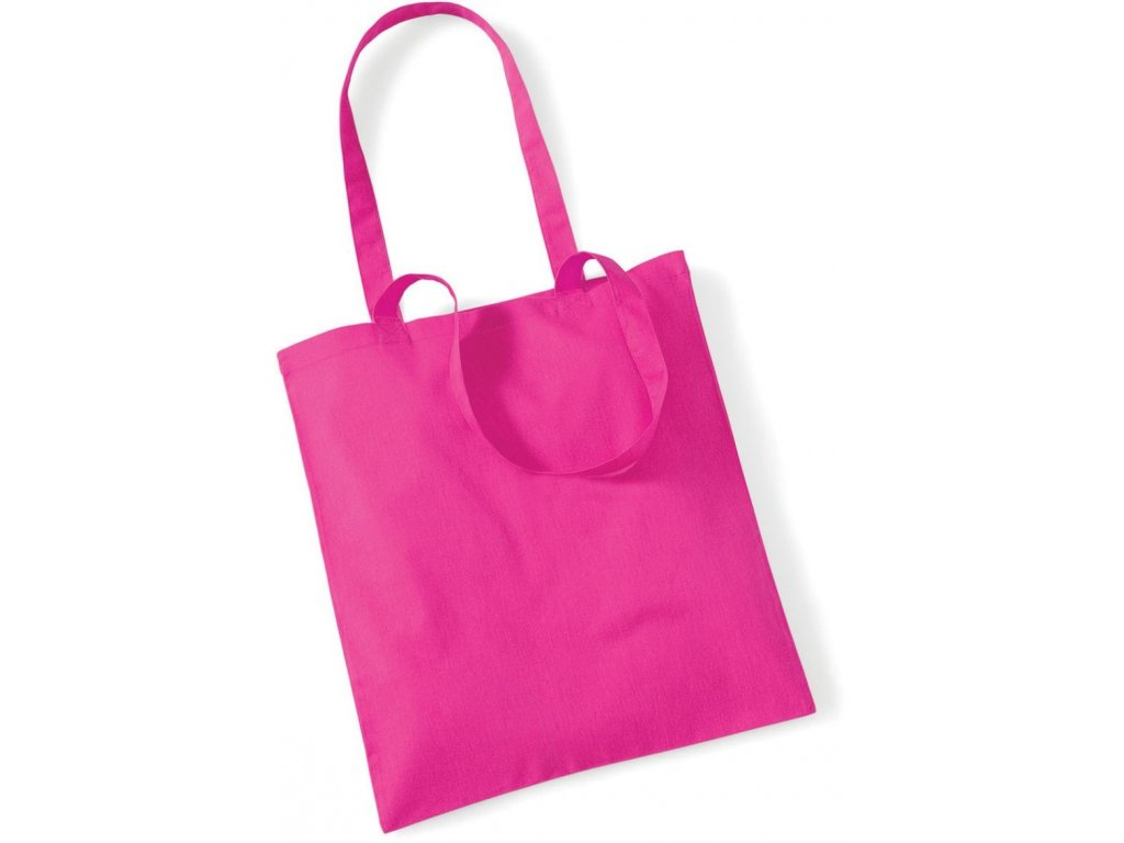 Nákupní plátěná taška s dlouhým uchem pink