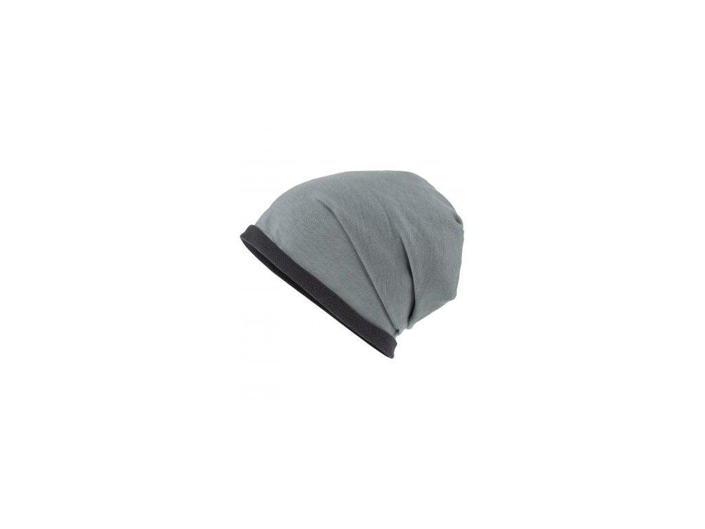 Ležérní čepice pro volný čas s fleecovým okrajem v kontrastní barvě šedá