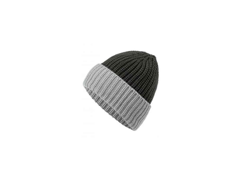 Hrubě pletená dvoubarevná čepice černá šedá