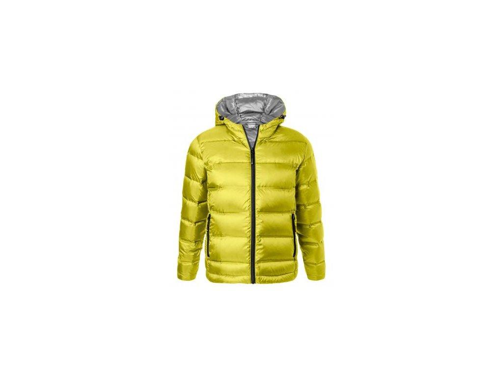 jn1152 Lehká péřová bunda s kapucí a kontrastní podšívkou žlutá