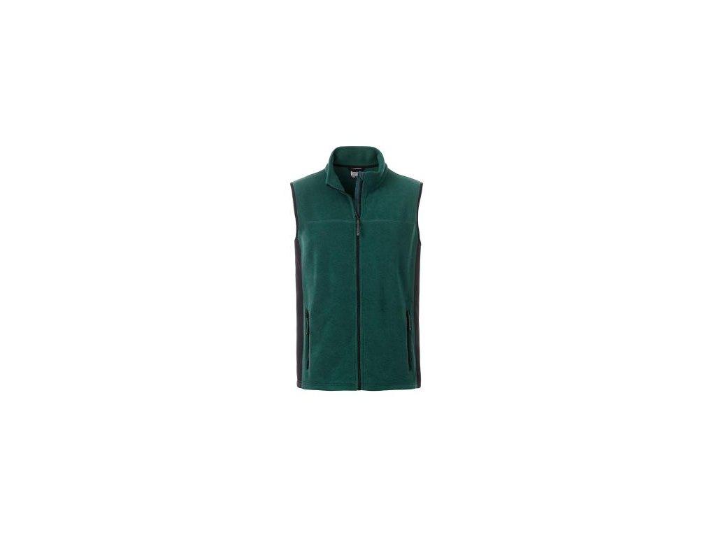 Pánská pracovní fleecová vesta v mixu materiálů tmavě zelená do 6XL