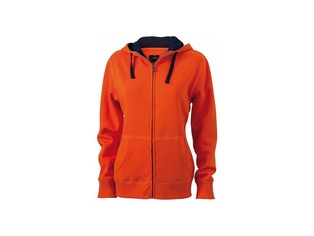 Dámská mikina LiKvalitní dámská mikina na zip a s kapucí oranžová