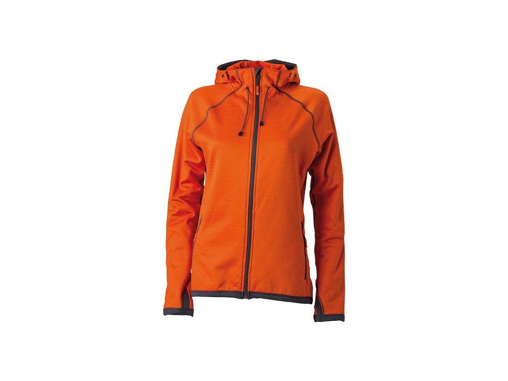 Sportovní dámská módní fleece bunda s kapucí oranžová
