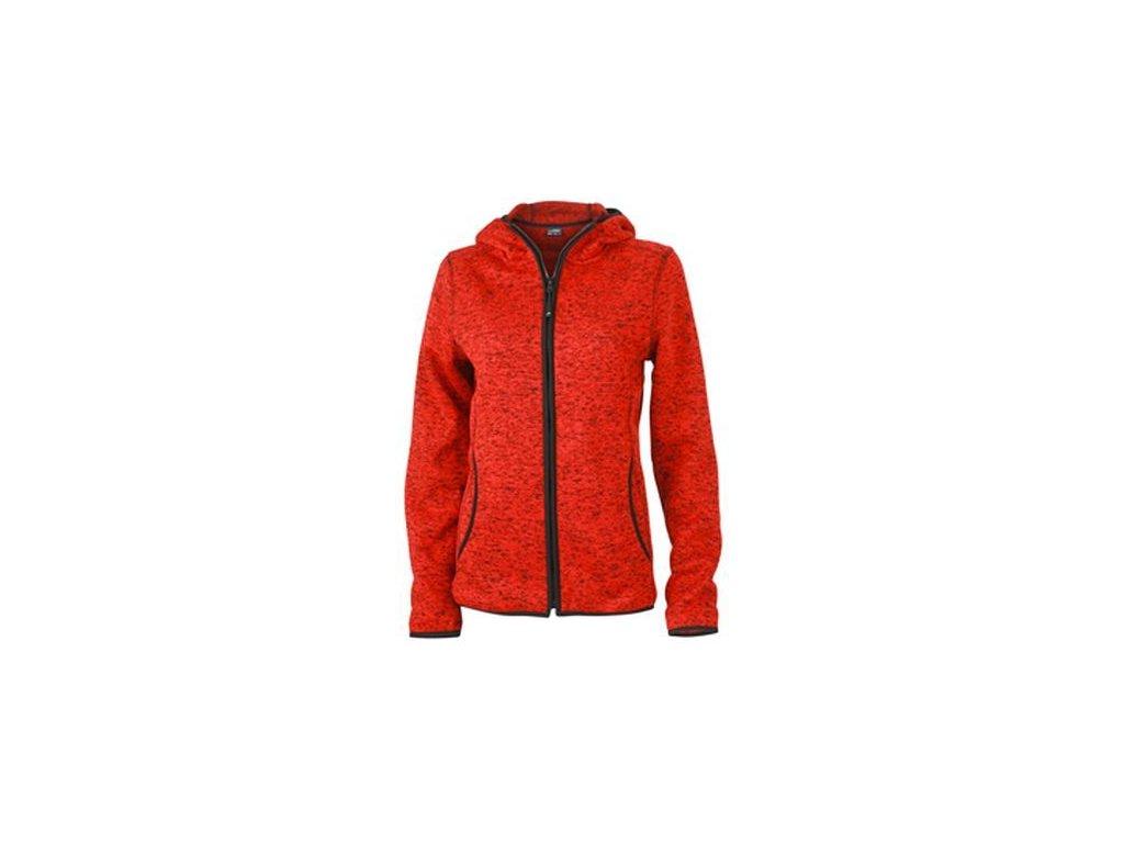 Dámská bunda Knitted Fleece Hoody (Barva Melír červený - Černá, Velikost oděvů XXL)
