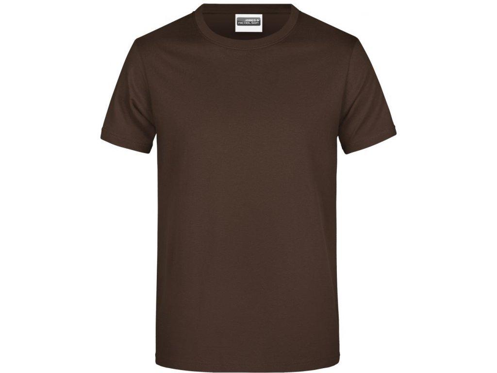 Klasické pánské bavlněné tričko hnědá