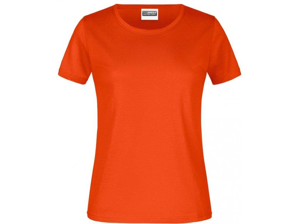 Dámské klasické bavlněné tričko s kulatým výstřihem oranžová