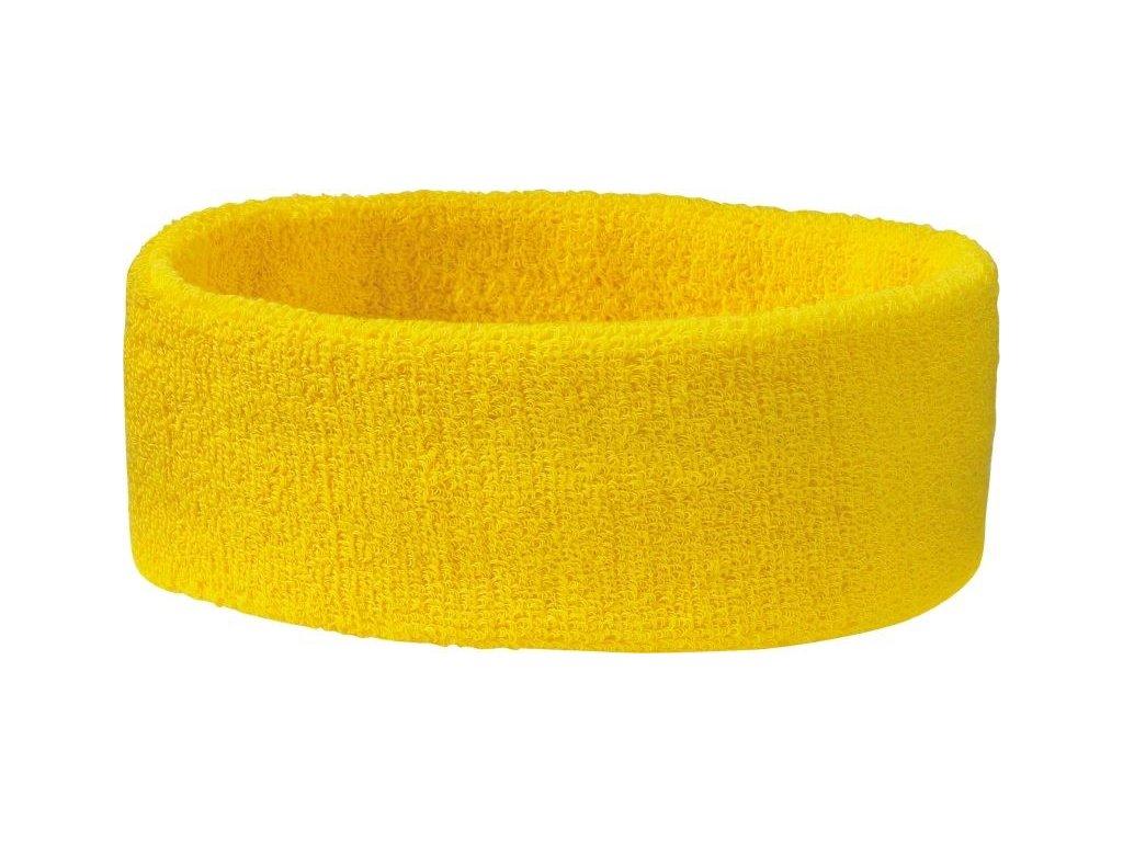 Sportovní froté čelenka žlutá