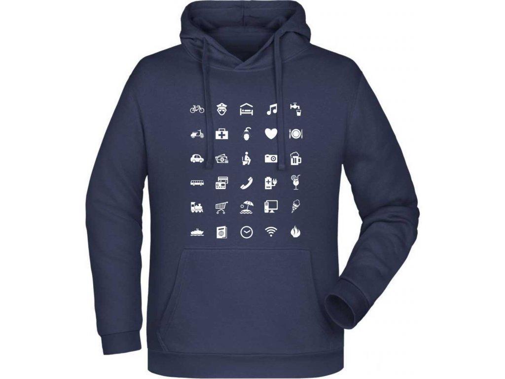 mikina s kapucí pro cestovatele navy