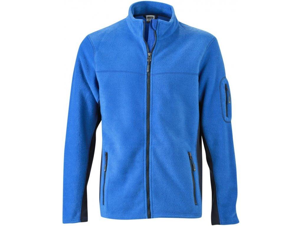 Pánská odolná pracovní celopropínací fleecová mikina modrá