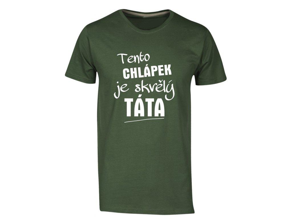 Pánské tričko skvělý táta zelena
