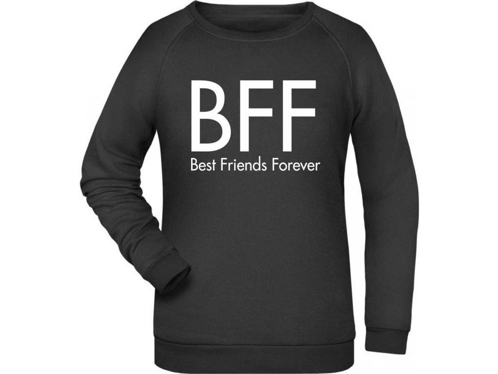 Dámská klasická mikina s potiskem BFF Best Friends Forever černá