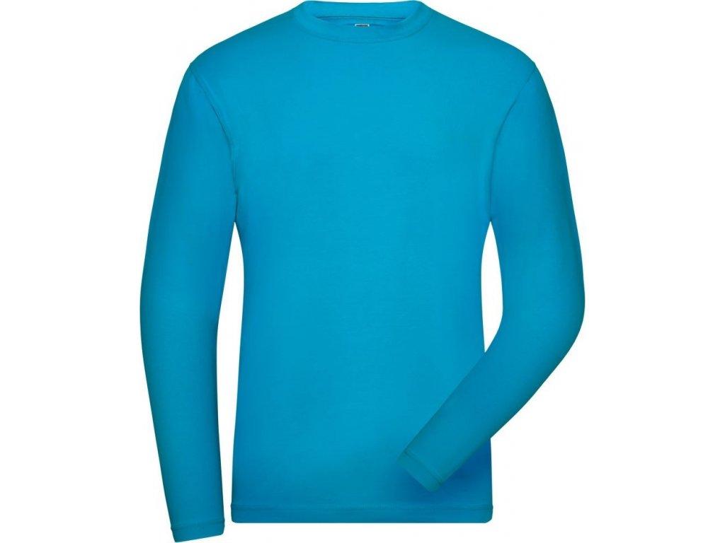 Pánské pracovní Bio pružné pracovní triko s dlouhým rukávem tyrkysová