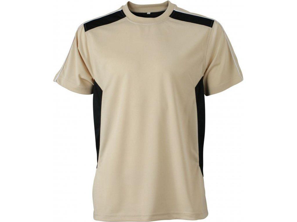 Pánské tričko s ionty stříbra, antibakteriální a antistatickou úpravou krémová