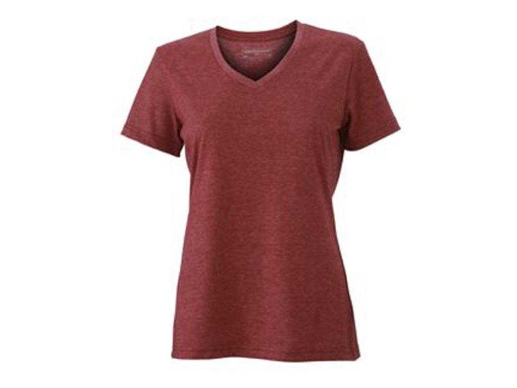 Zajímavé dámské módní tričko v barevném melíru vínová