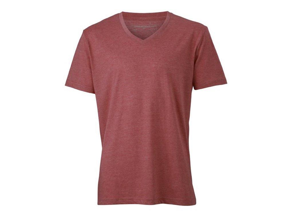 pánské módní tričko v barevném melíru s výstřihem do V červený melír