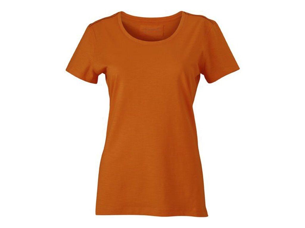 Dámské tričko s módní strukturou a štepováním oranžová