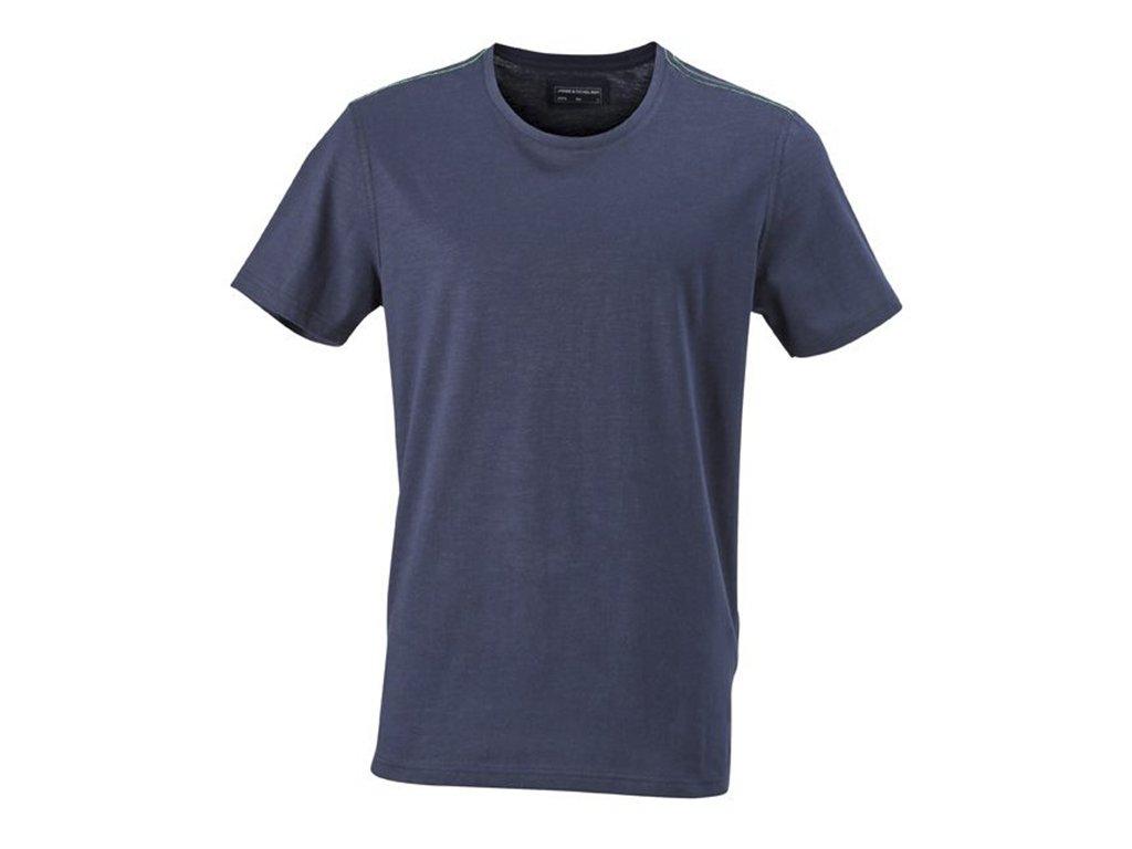 Pánská módní tričko Urban se strukturou a štepováním modrá námořní