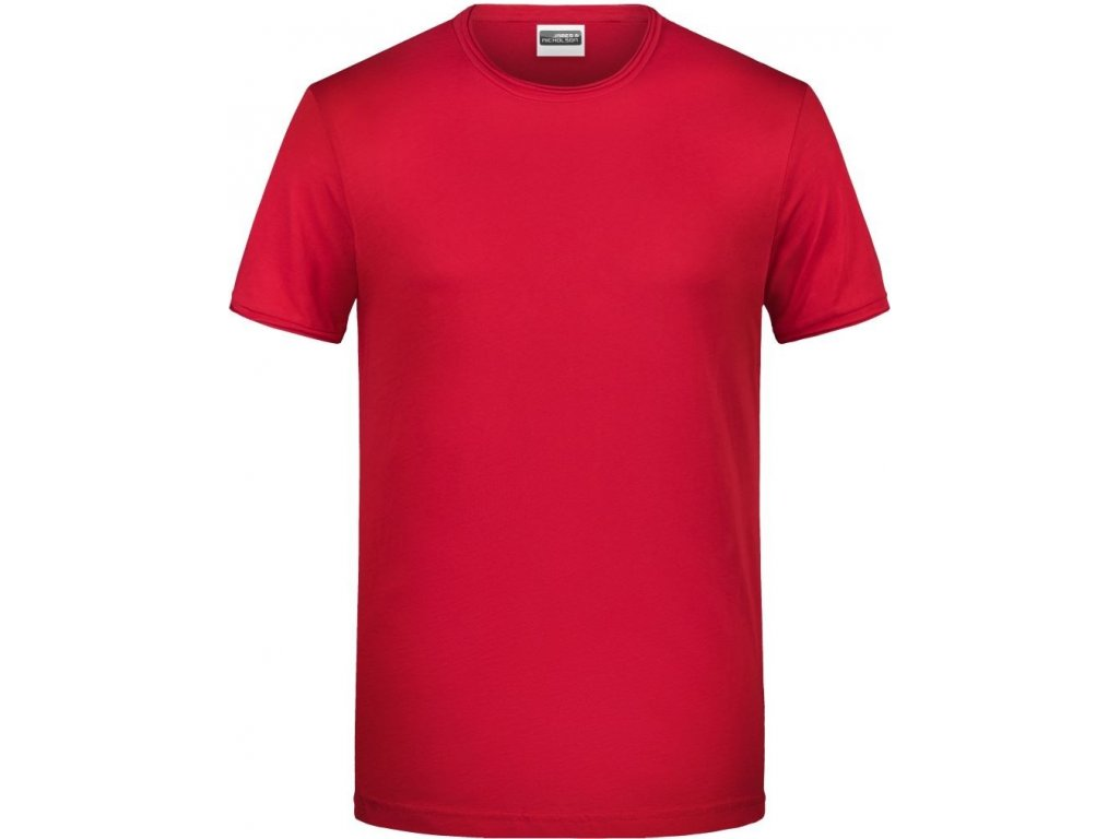 Pánské tričko z Bio bavlny v módním střihu červená