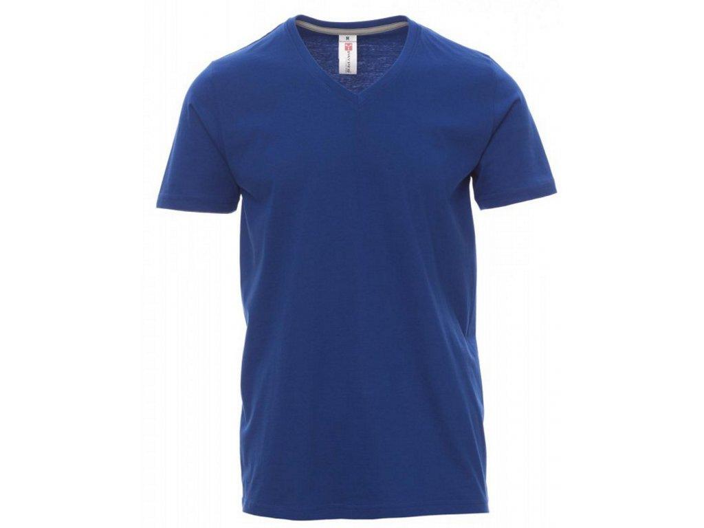Pánské tričko s krátkým rukávem a výstřihem do V modrá královská