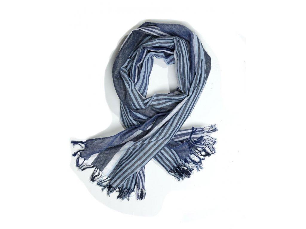 Pruhovaná šála na koncích s třásněmi modrá