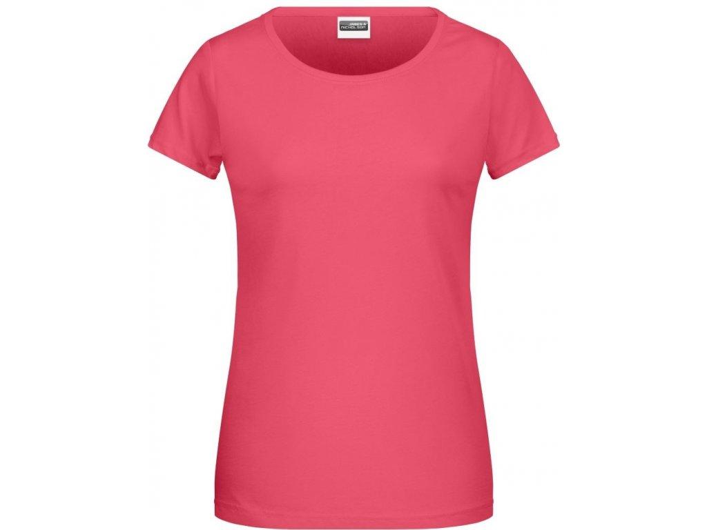 Dámské klasické tričko z Bio bavlny s kulatým výstřihem malinová