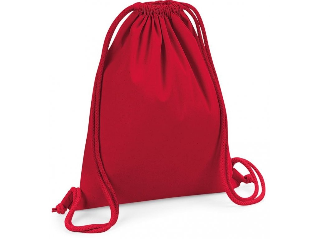 Bavlněný batoh, gymsack z Bio bavlny červená