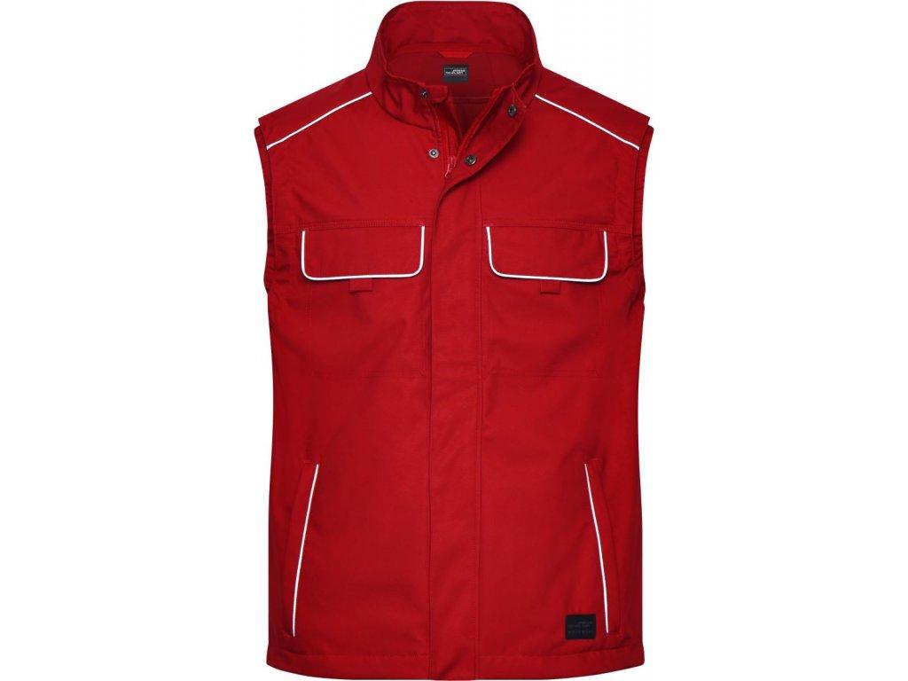 Profesionální pánská pracovní vesta v klasickém vzhledu červená