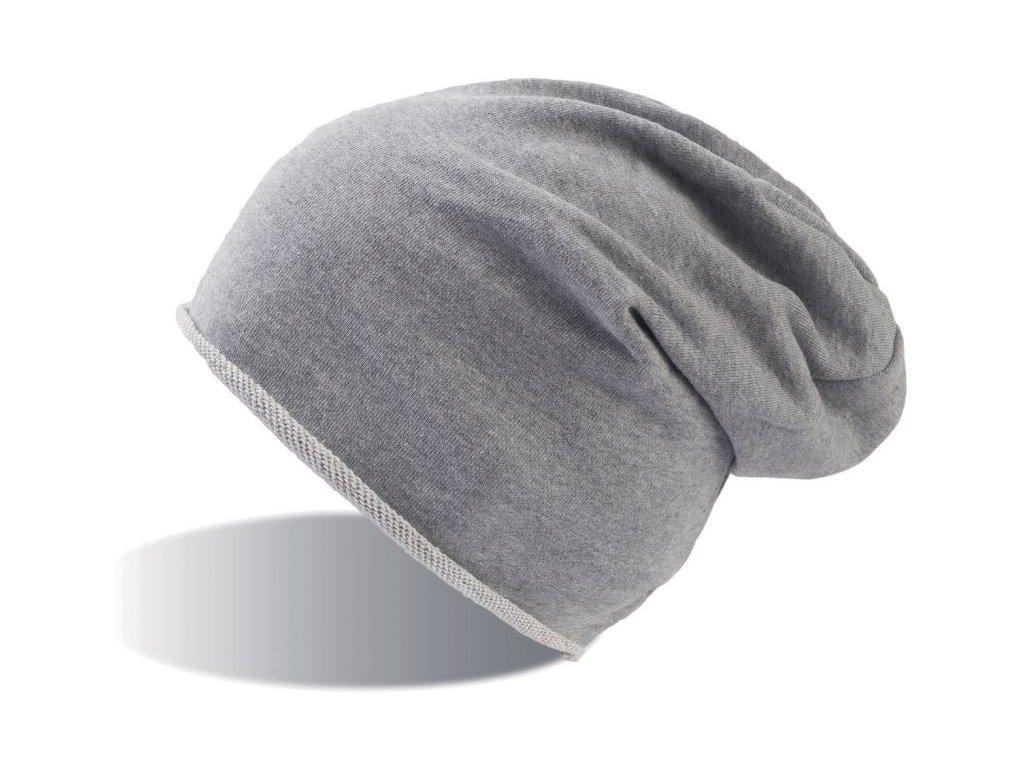 Prodloužená čepice s rolovaným okrajem šedá