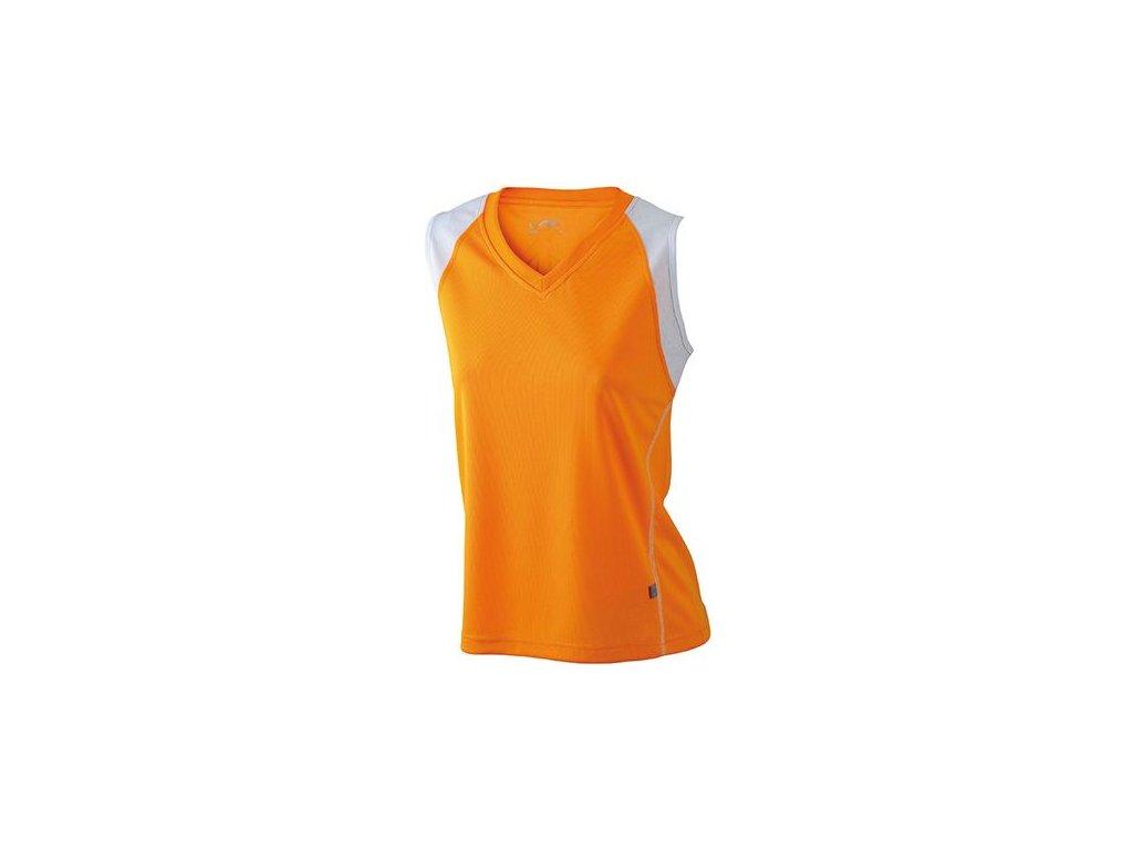 Dámský běžecký prodyšný top s výstřihem do V oranžová