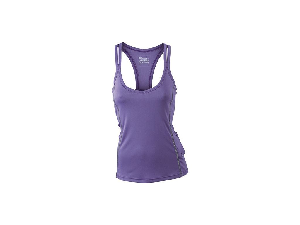 Dámský běžecký top s reflexními prvky a  vnitřní podprsenkou fialová