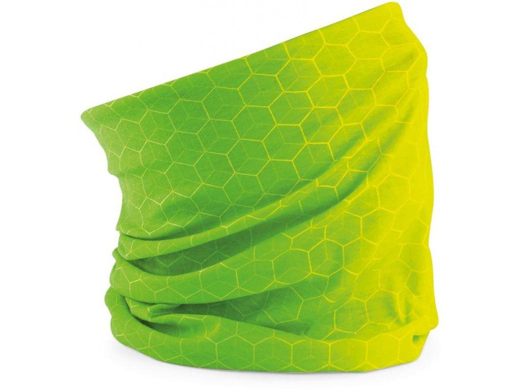 Prodyšný multifunkční tubus, šátek s geometrickými tvary limetková