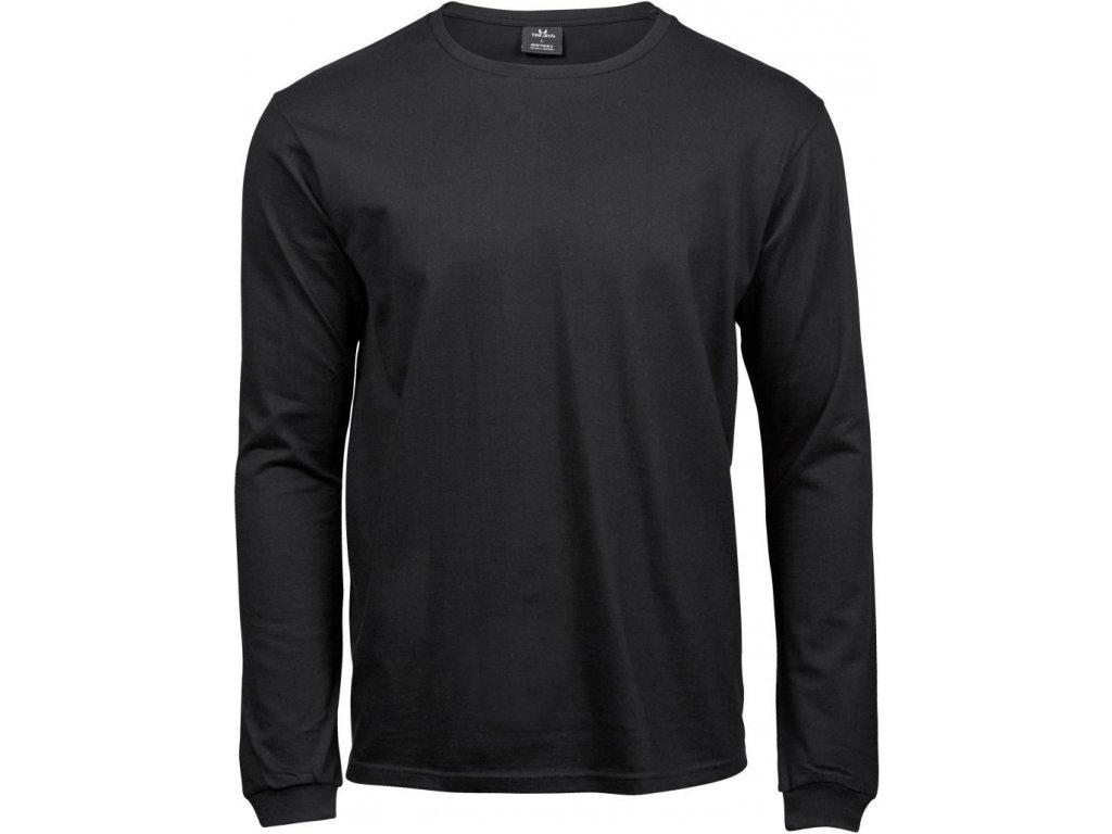 Pánské triko s dlouhým rukávem z předsrážené bavlny z úzkým lemem černá