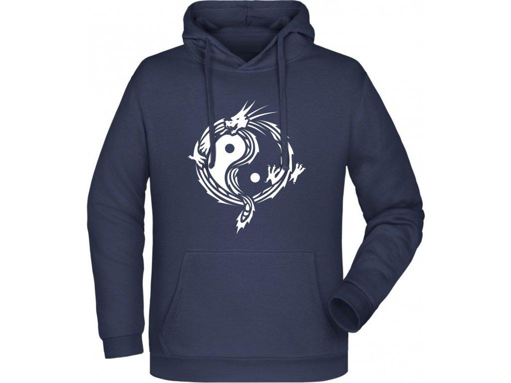 Pánská mikina s kapucíJin Jang v designu draka modrá námořní