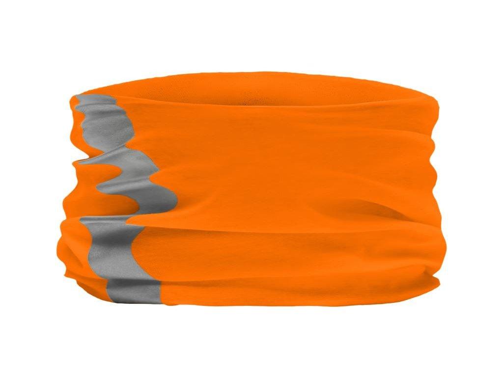Multifunkční šátek, čelenka v reflexních barvách a reflexním pruhem neonově oranžová