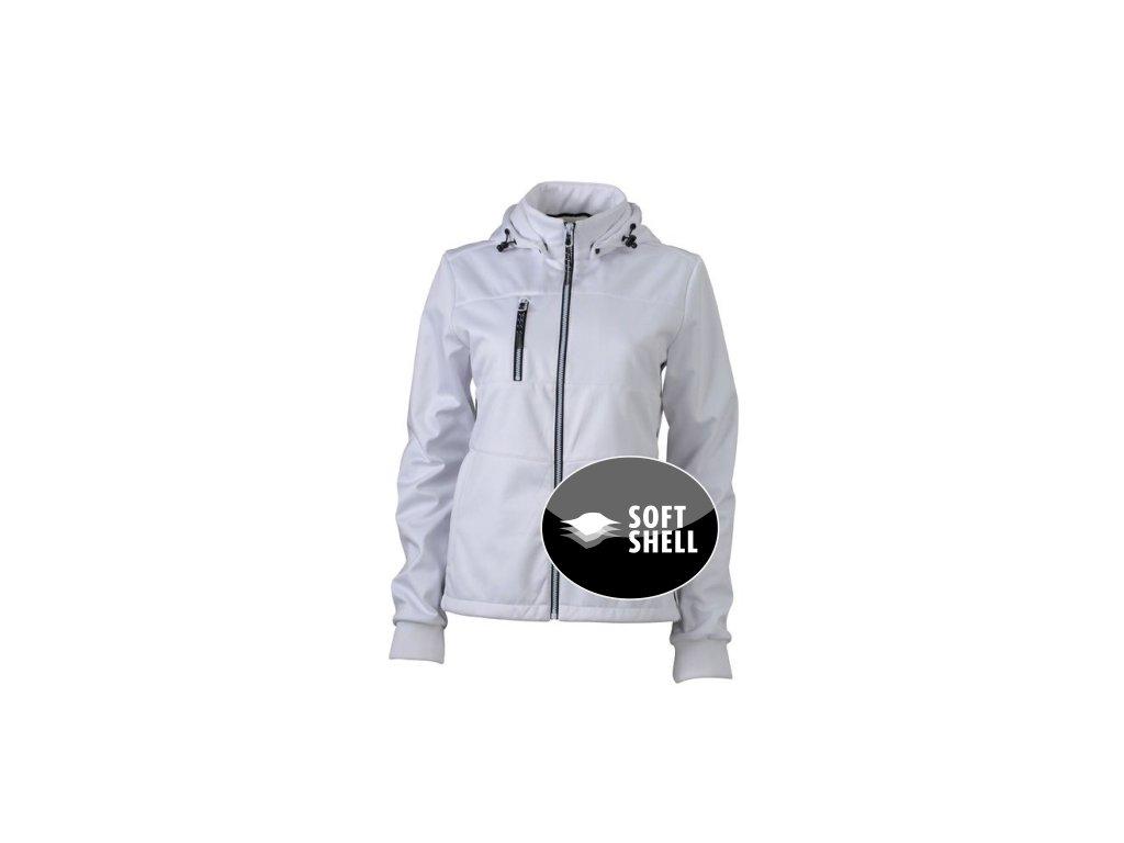 Dámská módní softshellová bunda v námořním designu bílá