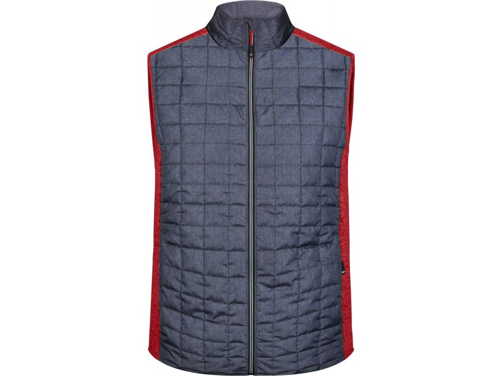Pánská hybridní vesta ve stylovém mixu materiálu červená