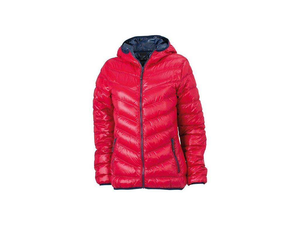 Dámská ultra lehká péřová bunda růžová