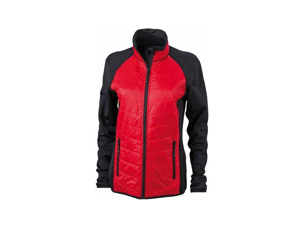 Dámská sportovní bunda ve stylovém mixu materiálů na zip červená