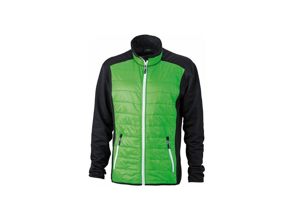 Pánská bunda ve stylovém mixu materiálů zelená