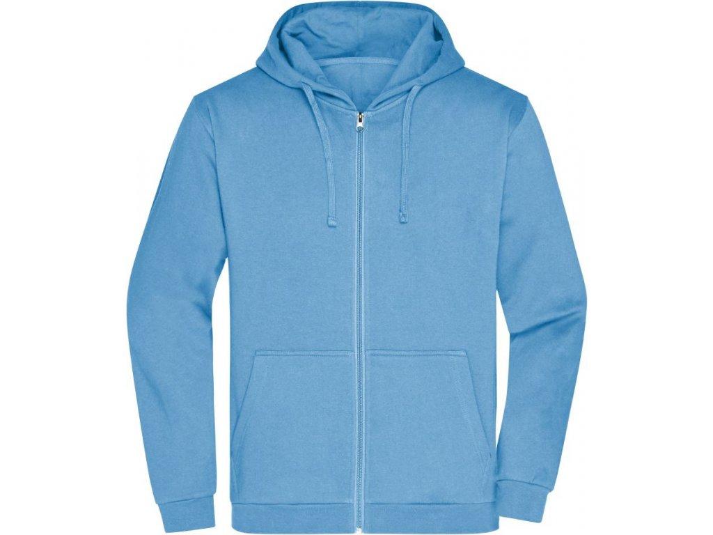 Klasická pánská mikina na zip s kapucí do 5XL modrá nebeská