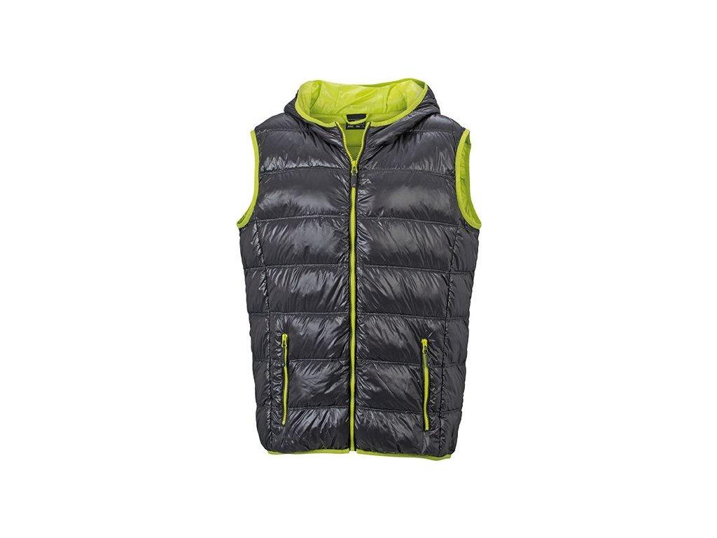 Pánská ultra lehká péřová vesta s kapucí v ležérním stylu carbon